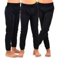 TeeHee Kids Girls Fleece Inner Brushed Leggings 3 Pack (Black)