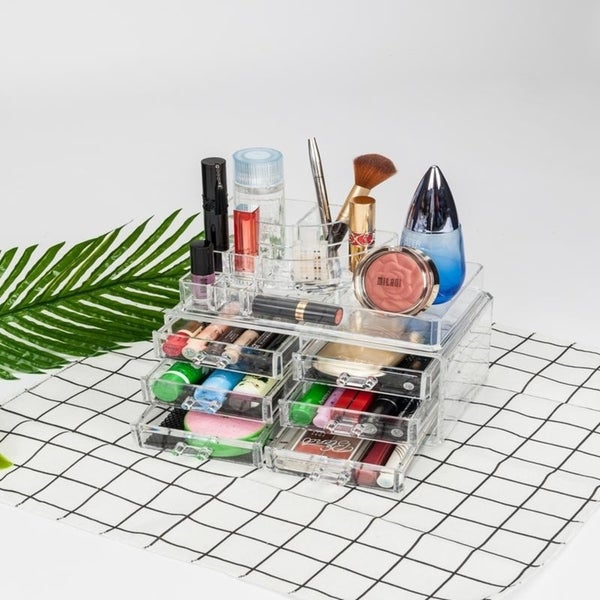 6-Drawer Acrylic Jewelry Cosmetics Storage Makeup Organizer - Clear
