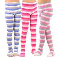 TeeHee Kids Girls Fashion Cotton Tights 3 Pair Pack (Stripes)