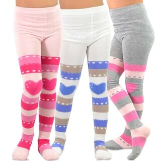 TeeHee Kids Girls Fashion Cotton Tights 3 Pair Pack (Stripe with Heart)