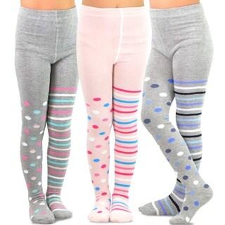 TeeHee Kids Girls Fashion Cotton Tights 3 Pair Pack (Multi Dots & Stripes)