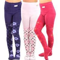 TeeHee Kids Girls Fashion Cotton Tights 3 Pair Pack (Floral Dot)
