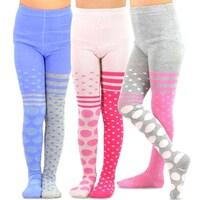 173f9f31321 TeeHee Kids Girls Fashion Cotton Tights 3 Pair Pack (Big & Small Dots)