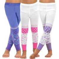 TeeHee Kids Girls Fashion Cotton Leggings 3 Pair Pack (Trellis Floral)