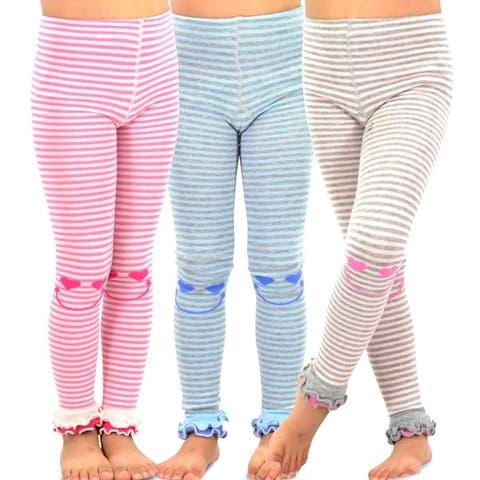 TeeHee Kids Girls Fashion Cotton Leggings 3 Pair Pack (Happy Stripe)