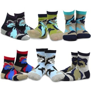 TeeHee Kids Boys Cotton Fashion Fun Crew Socks 6 Pair Pack (Camo)