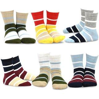 TeeHee Kids Boys Basic Sports Cotton Crew Socks 6 Pair Pack (Rugby Stripe)
