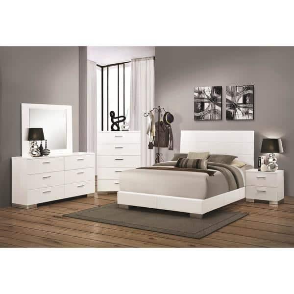 Shop Glam Contemporary Designed Glossy White Bedroom Set ...