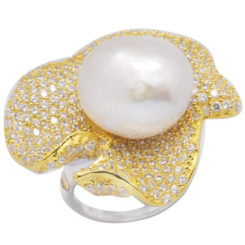 De Buman 18k Yellow Gold and Sterling Silver Chinese Freshwater Cultured Pearl Ring, Size 7