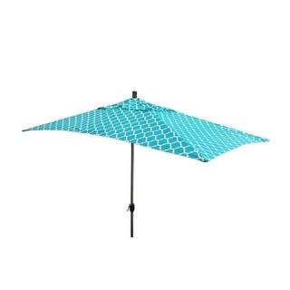 Escada Designs 10'x6' Teal/White Moroccan style Patio Umnbrella