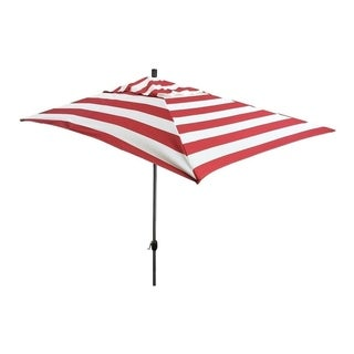 Escada Designs 10' x 6' Red/White Stripe Rectangular Umbrella