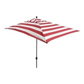 Escada Designs 10' x 6' Red/White Stripe Rectangular Umbrella