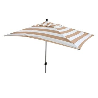 Escada Designs 10' x 6' Tan/White Stripe Rectangular Umbrella
