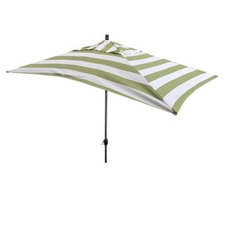Escada Designs 10' x 6' Green/White Stripe Rectangular Umbrella