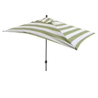 Escada Designs 10' x 6' Green/White Stripe Rectangular Umbrella