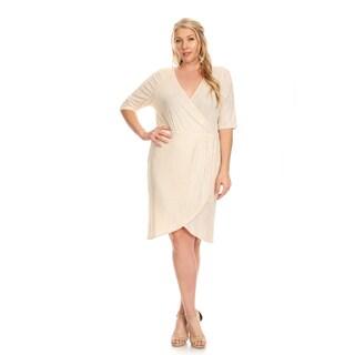 Xehar Women's Plus Size Metallic V-Neck Wrapped Dress