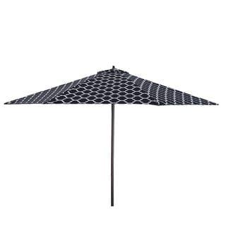 Lauren & Company 9' Black/White Moroccan Pattern Patio Umbrella