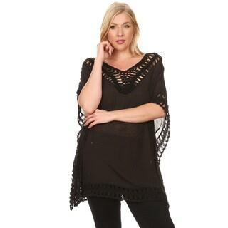 Xehar Women's Plus Size Loose Boho Crochet Solid Tunic Blouse Top