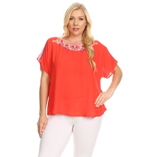 Xehar Women's Plus Size Embroidery Loose Solid Blouse Top