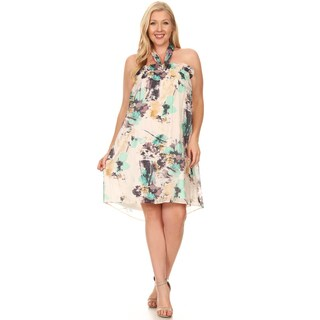 Xehar Women's Plus Size Floral Print Halter Summer Dress