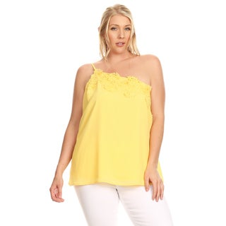 Xehar Women's Plus Size One Shoulder Crochet Strap Blouse Top