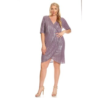 Xehar Women's Plus Size Metallic V-Neck Wrapped Dress