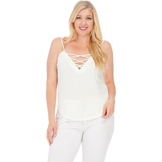 Xehar Women's Plus Size Sexy Criss Cross Solid Cami Top (3 options available)