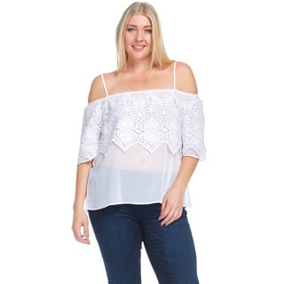 Xehar Women's Plus Size Spaghetti Strap Off Shoulder Crochet Blouse Top