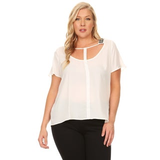 Xehar Women's Plus Size Sexy Chiffon Cut Out Beaded Solid Blouse Top