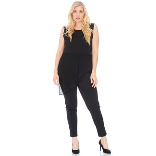 Xehar Women's Plus Size Sexy Sleeveless Chiffon Jumpsuit Playsuit Romper