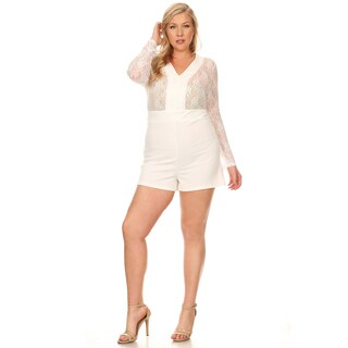 Xehar Women's Plus Size Casual Lace Sleeve Contrast Detail Short Romper