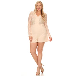 Xehar Women's Plus Size Casual Lace Sleeve Contrast Detail Short Romper