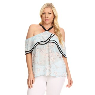 Xehar Women's Plus Size Casual Floral Printed Self Ruffle Blouse Top