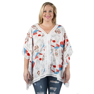 Xehar Women's Plus Size Leaf Printed Loose Poncho Blouse