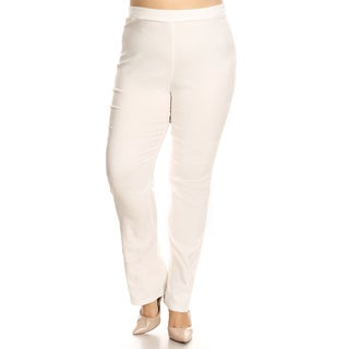 Xehar Women's Plus Size Casual Stretchy Solid High Waist Pants