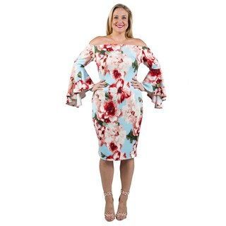 Xehar Women's Plus Size Bell Sleeves Floral Print Dress
