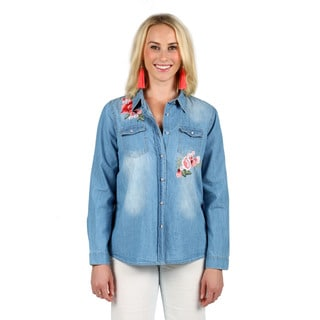 Xehar Women's Casual Floral Collar Denim Shirt