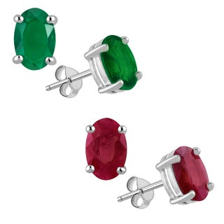 Orchid Jewelry Set of 2 Pair Sterling Silver Stud Earrings with Dyed Emerald and Ruby