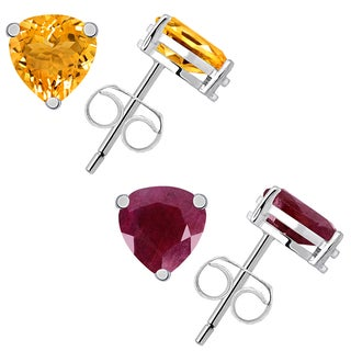Set of 2 Pair Citrine and Ruby Stud Earring in Sterling Silver