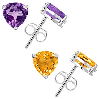 Set of 2 Pair Amethyst and Citrine Stud Earring in Sterling Silver