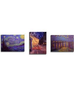 Van Gogh Starry Night Stretched Canvas (Set of 3)|https://ak1.ostkcdn.com/images/products/1605956/Van-Gogh-Starry-Night-Stretched-Canvas-Set-of-3-P1152751.jpg?impolicy=medium