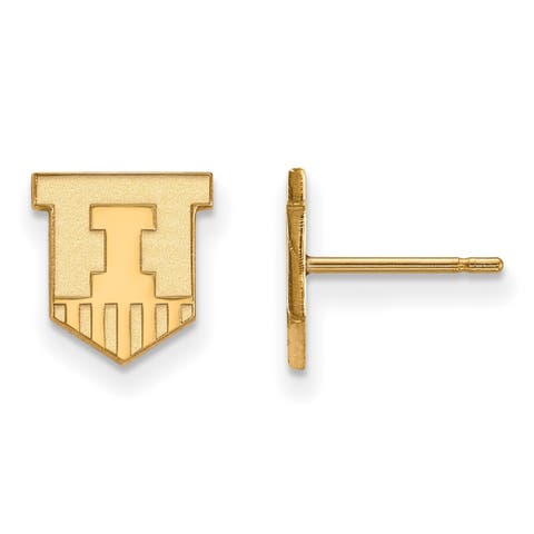 Versil Sterling Silver With Gold Plating LogoArt University of Illinois Extra Small Post Earrings