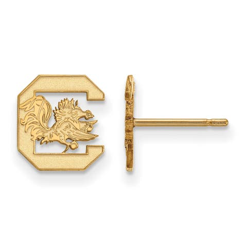 Versil Sterling Silver With Gold Plating LogoArt University of South Carolina Extra Small Post Earrings