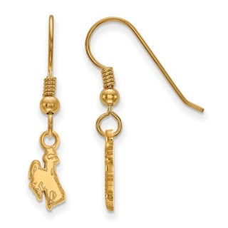 Sterling Silver With Gold Plating LogoArt The University of Wyoming Extra Small Dangle Earrings