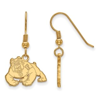 Sterling Silver With Gold Plating LogoArt California State U Fresno Small Dangle Earring