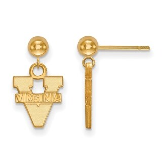 Sterling Silver With Gold Plating LogoArt University of Virginia Earrings Dangle Ball