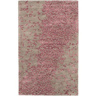 ecarpetgallery Impressions Grey, Pink Wool, Art Silk Rug (5'0 x 8'0)