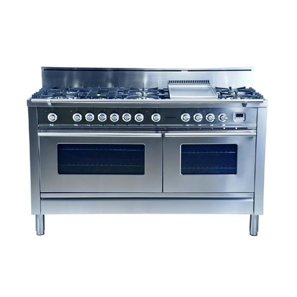 Hallman 60 In. 7 Burner With Griddle Italian Dual Fuel Convection Gas Range  In Stainless