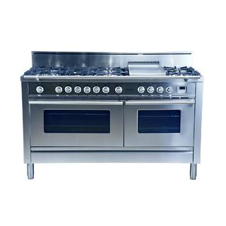 Hallman 60 in. 7 Burner with Griddle Italian Dual Fuel Convection Gas Range in Stainless Steel