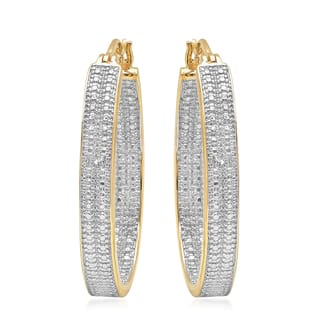 Two Tone Diamond Accent C Hoop Earrings|https://ak1.ostkcdn.com/images/products/16066645/P22453404.jpg?impolicy=medium